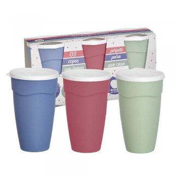 Conjunto c/ 3 copos c/ tampa 470 ml